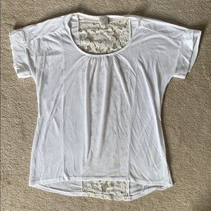 Ella Miss White Tee with Lace Detail - S